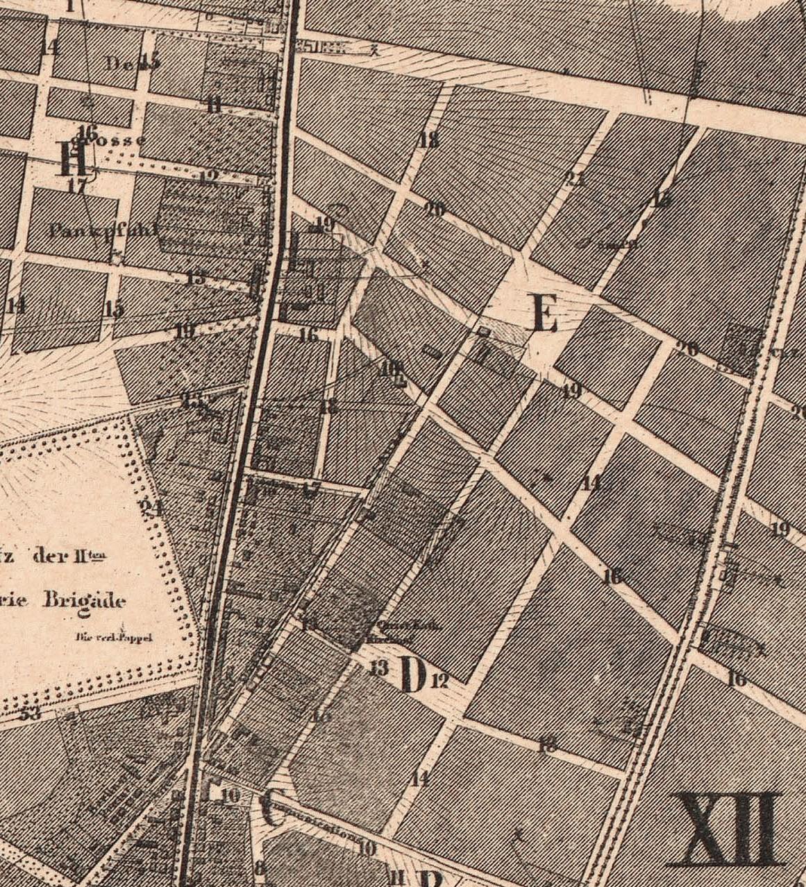 Pappelallee im Hobrecht-Plan 1862